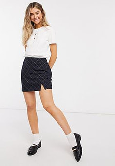 Abercrombie & Fitch bias cut mini skirt with slit in black plaid