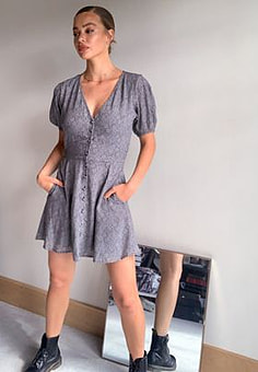 Abercrombie & Fitch button through dress in ditsy print-Black