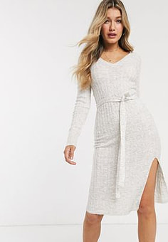 Abercrombie & Fitch knitted midi dress with tie belt-White