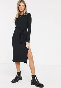 Abercrombie & Fitch ribbed midi dress with side split and tie belt-Black
