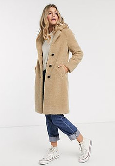 Abercrombie & Fitch sherpa dad coat-Tan