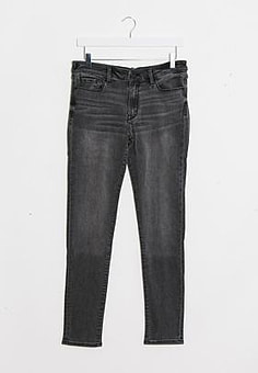 Abercrombie & Fitch skinny jeans in mid grey-Black