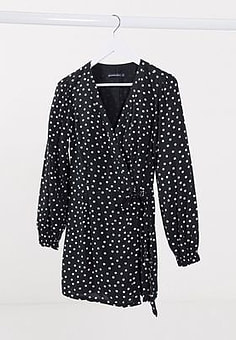 Abercrombie & Fitch wrap dress in polka dot-Black