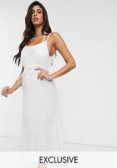 Akasa Exclusive midi beach dress with ruche detail in white
