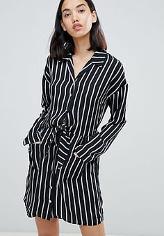 Amy Lynn stripped belted shirt dress-Multi