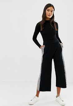 Amy Lynn wide leg cropped trouser with lace panel-Black