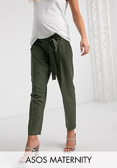 ASOS  DESIGN Maternity under bump tailored tie waist tapered ankle grazer trousers-Green
