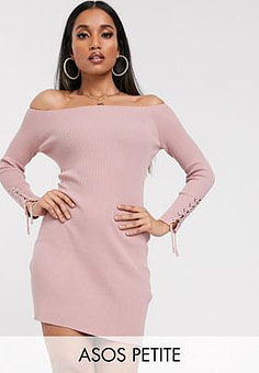 ASOS ASOS DESIGN Petite bardot knit mini dress with lace up cuff detail-Pink