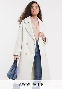 ASOS  DESIGN Petite brushed statement button coat with hero buttons in white-Cream