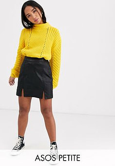 ASOS ASOS DESIGN Petite denim coated mini skirt in black
