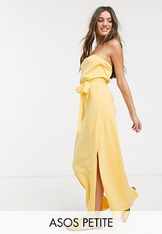 ASOS  DESIGN Petite Exclusive bandeau maxi dress with belt in buttermilk-Yellow
