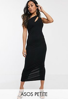 ASOS ASOS DESIGN Petite going out slash front maxi dress-Black