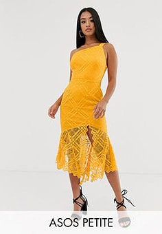 ASOS ASOS DESIGN Petite lace one shoulder scallop pephem midi dress-Orange