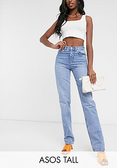 ASOS  DESIGN Tall mid rise '90's' straight leg jeans in midwash-Blue