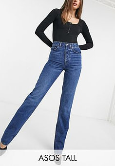 ASOS  DESIGN Tall organic mid rise '90's' straight leg jeans in rich 70's blue