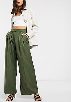 ASOS pleat front trouser-Green