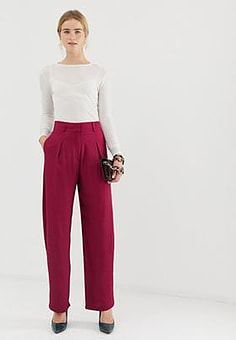 ASOS straight leg high waisted trousers-Pink