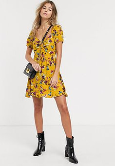 Band of Gypsies Band Of floral mini tea dress in yellow