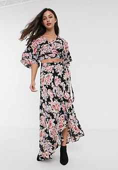 Band of Gypsies Band Of floral print maxi skirt co-ord-Black
