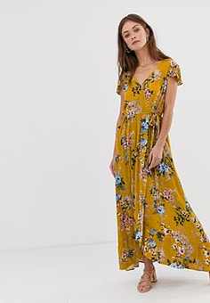 Band of Gypsies Band Of wrap front maxi dress in yellow floral print