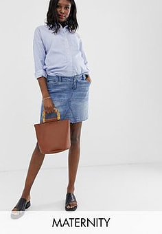 Bandia Maternity denim mini skirt with removeable band-Blue