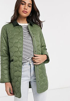 Barbour Erin quilted coat in sage green
