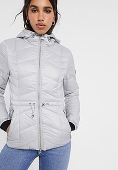 Barbour International ace quilted jacket with hood-White