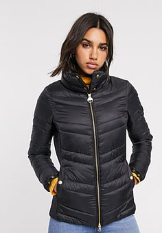 Barbour International rally quilted wrap neck jacket-Black
