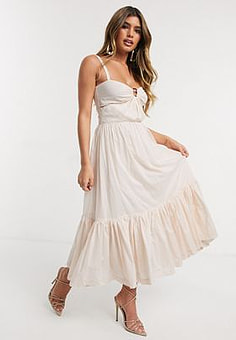 Bec & Bridge puka shell tiered midi dress in shell pink