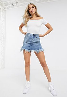BLANK NYC Fancy That raw peplum hem denim skirt-Blue
