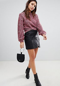 BLANK NYC leather effect mini skirt-Black