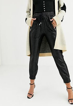 BLANK NYC patent slouchy jogger-Black