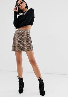 BLANK NYC snake print mini skirt-Red