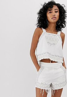BLANK NYC Snow Flake embroidered fringed hem denim cami top-White