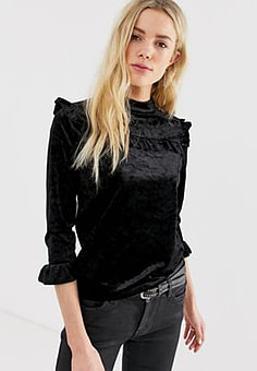 BLANK NYC Spark velvet froll top-Black