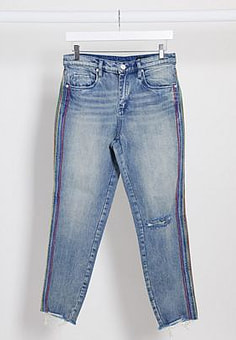BLANK NYC straight leg jeans in mid wash blue