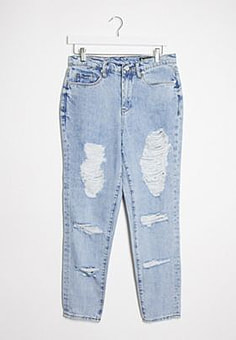 BLANK NYC straight leg jeans with distressing in light blue