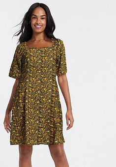Blend She midi dress in ditsy floral-Multi