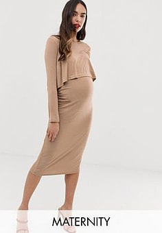 Bluebella midi 2 in 1 dress in taupe-Pink