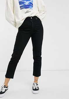 Brave Soul fran jeans with raw edge-Black