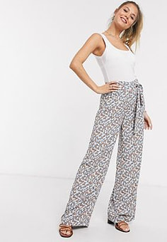Brave Soul ivy high waisted wide leg trousers-Multi