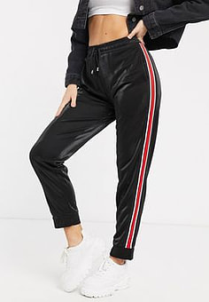 Brave Soul joggers with side stripe in black