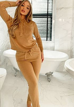 Brave Soul lambada knitted hoodie and joggers tracksuit set-Brown