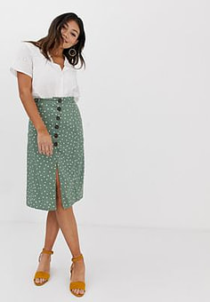 Brave Soul spot midi skirt with button detail and split-Green