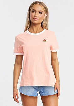 Brave Soul summer ringer t-shirt with watermelon embroidered patch-White