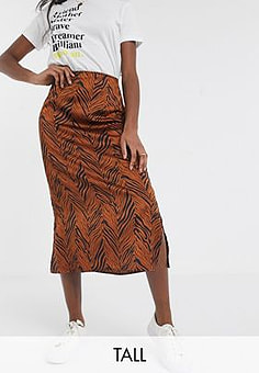 Brave Soul eden midi slip skirt in satin effect-Brown