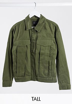 Brave Soul frederique twill jacket with pocket detail in khaki-Green