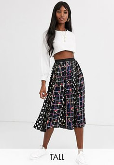 Brave Soul gin amidi skirt in mixed spot and-Black