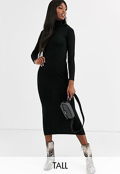 Brave Soul toulouse maxi dress with roll neck-Black