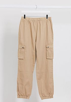 Brave Soul utility trousers with elasticated waist in stone-Neutral